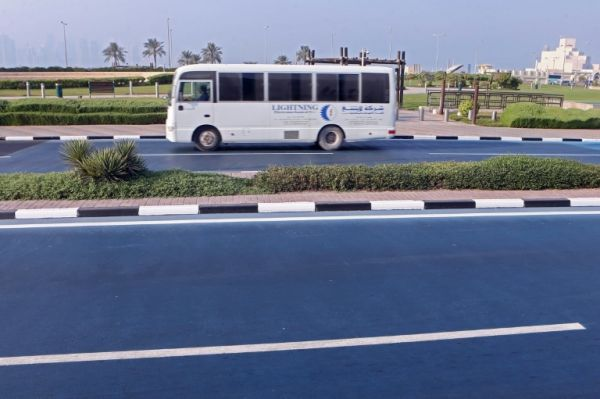 Here's Why Qatar Turned One of its Roads Bright Blue