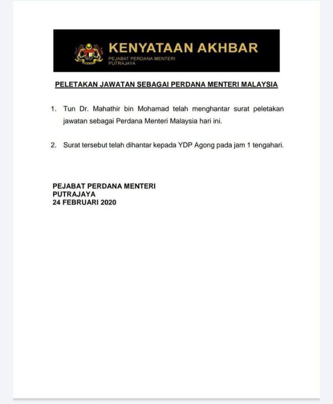 Mahathir's resignation press statement