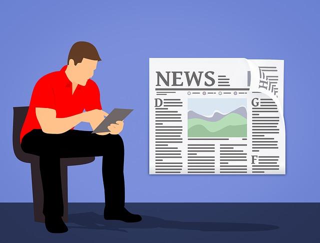man reading newspaper illustration